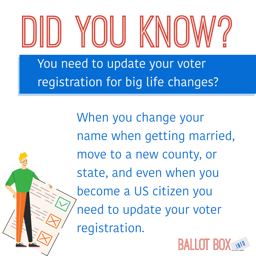 Did you know that you need to update your voter registration for big life changes? When you change your name when getting married, move to a new county or state, or even when you become a US citizen you need to update your voter registration!